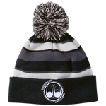 BeardedGuysGaming Dual Beard (White Logo) Striped Beanie with Pom