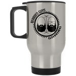 BeardedGuysGaming Dual Beard (Black Logo) Silver Stainless Travel Mug