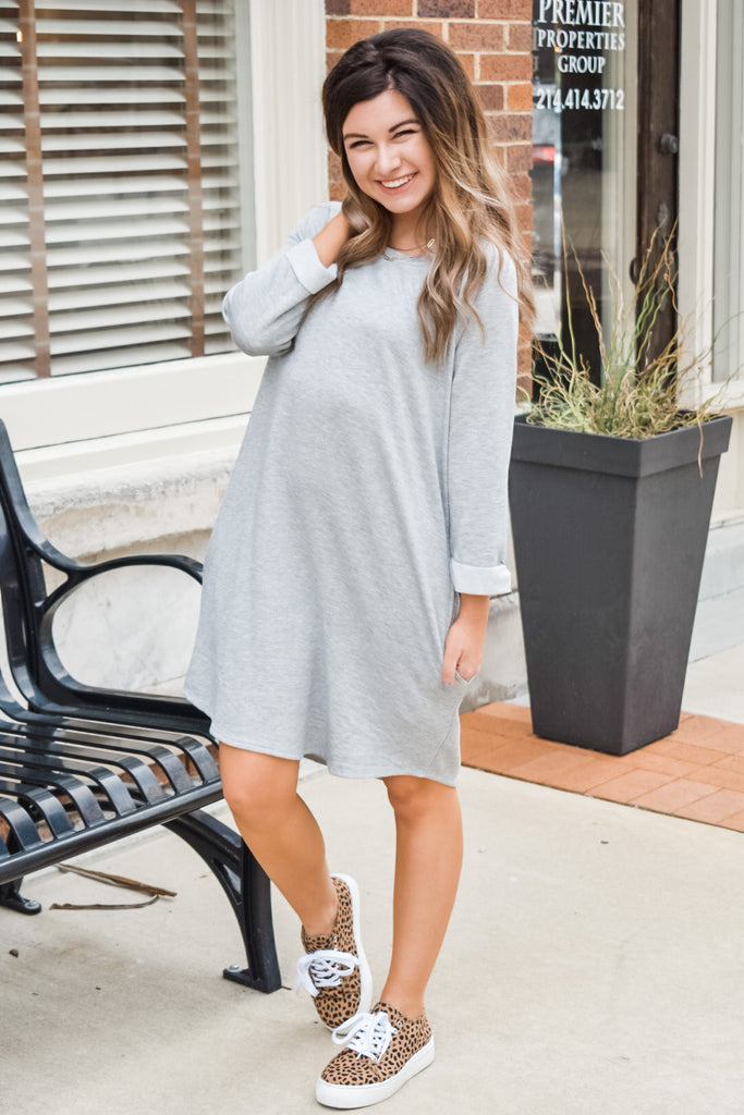 Just Chillin' Dress- Heather Grey