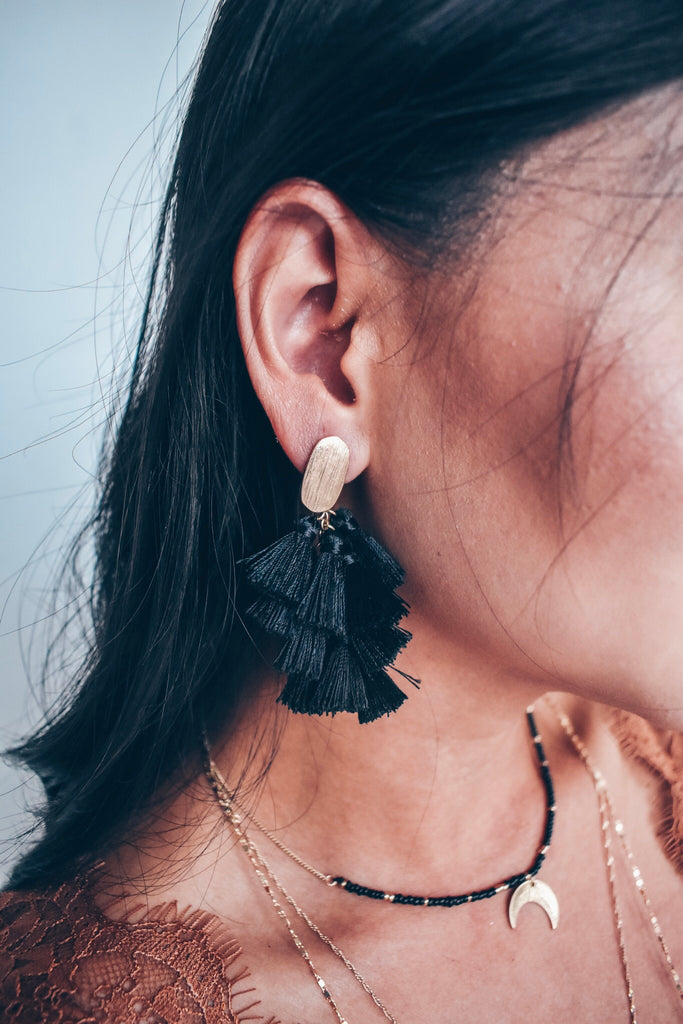 She's A Natural Tassel Earrings - Black