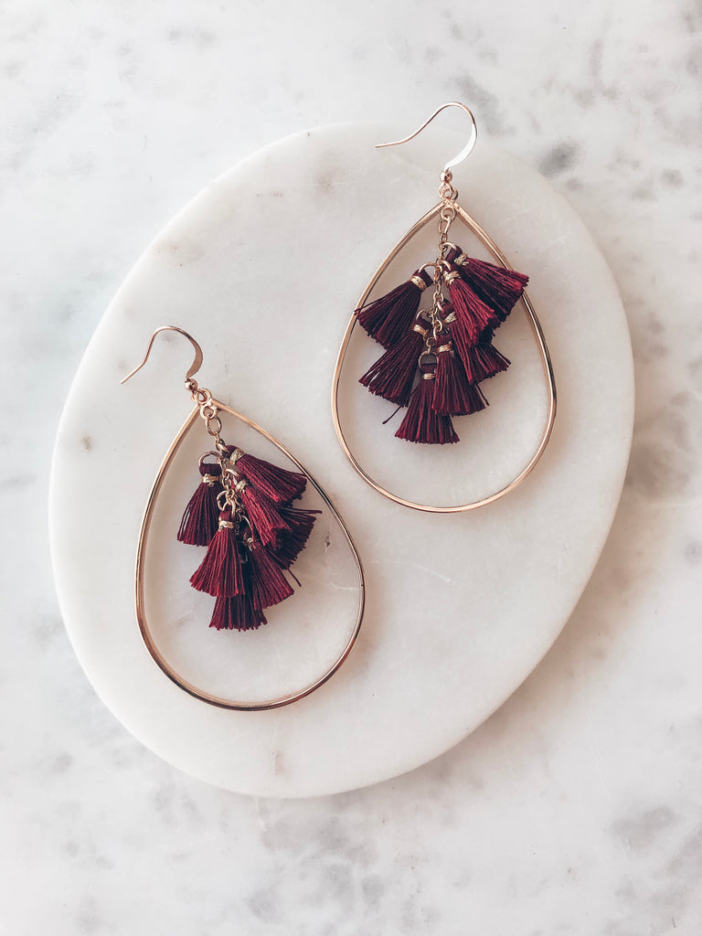 Intriguing Options Earring-Maroon