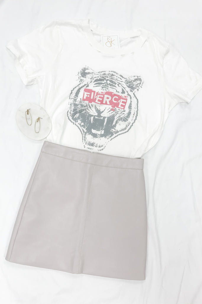 Five Minutes Of Fame Skirt- Light Grey