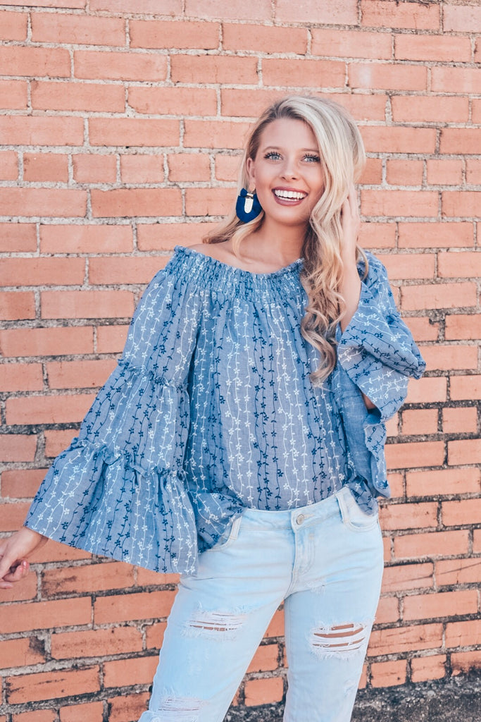 Between Us Off The Shoulder Top-Denim