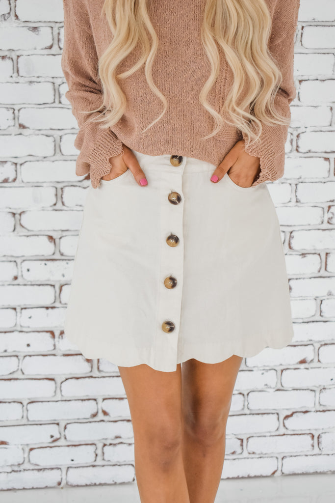 Back In Town Skirt- Natural