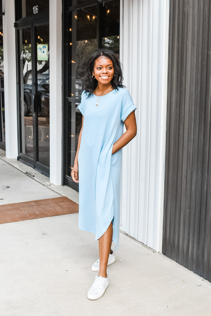 Easy Breezy Dress- Sky Blue