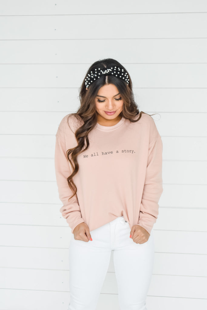 Have A Story Pullover- Peach