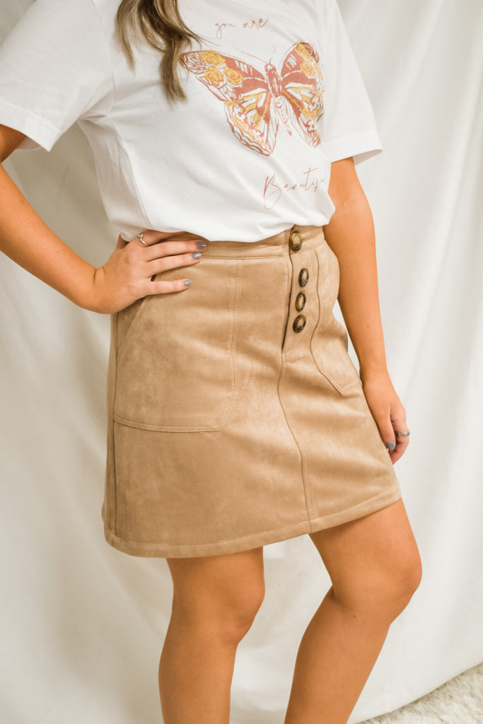 Day In The Orchard Skirt- Tan