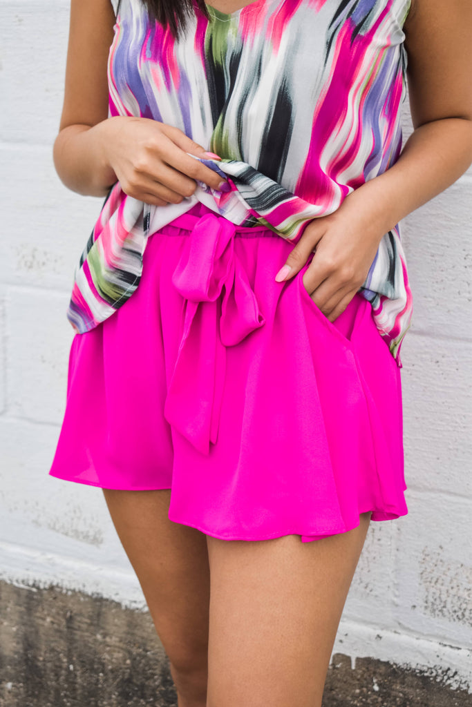 On Island Time Shorts- Neon Berry