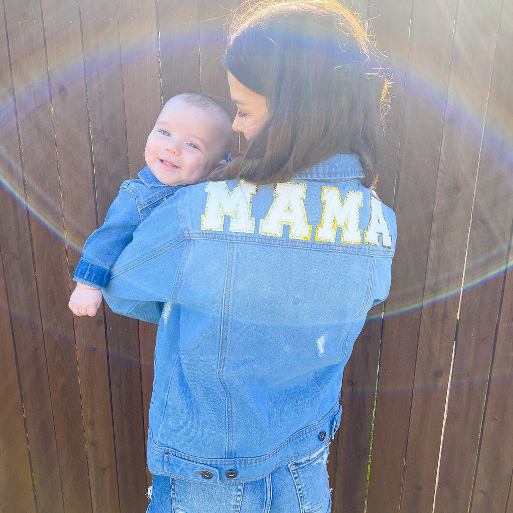 Varsity Lettered Denim Jacket- Mama