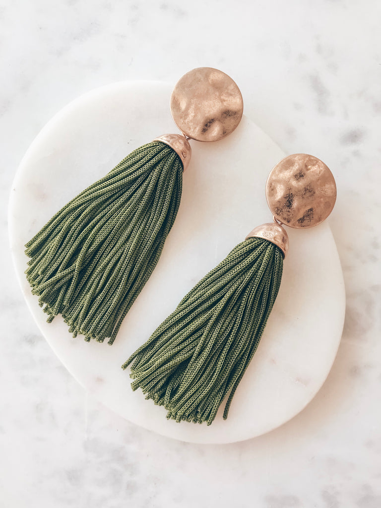 All That Tassel Earring-Olive