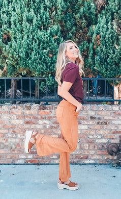 Step On Out Flare Pants - Caramel Pecan