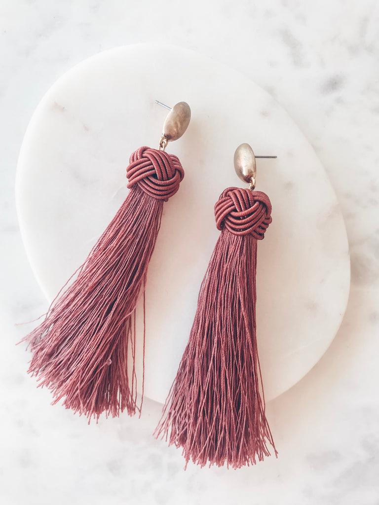 Looking Good Tassel Earring- Mauve Wine