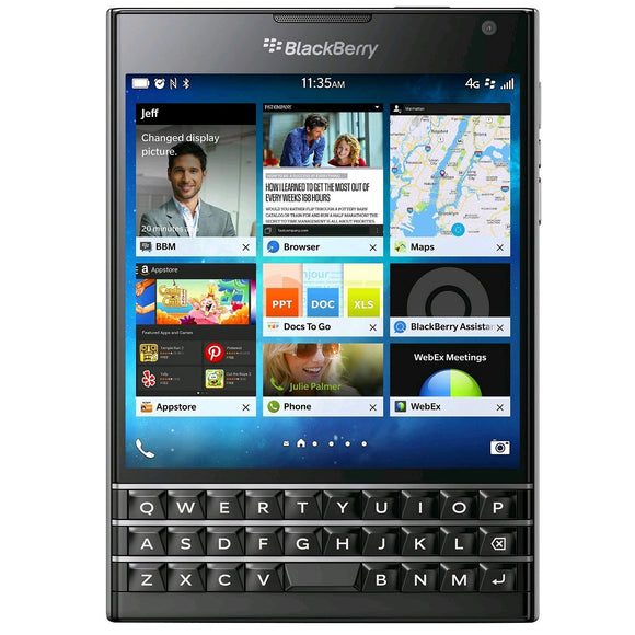 BlackBerry Passport 32GB SQW100-1- Black (Unlocked) Good Condition