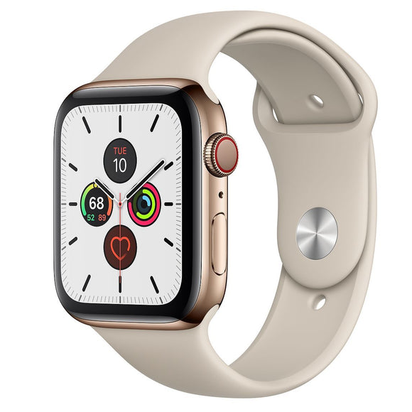 Apple Watch Series 5 44mm (GPS + Cell) Gold Stainless Case w/ Stone Sport Band -
