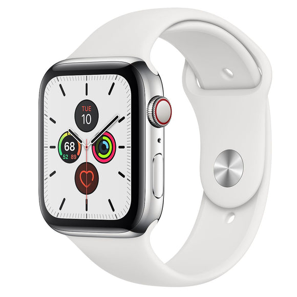 Apple Watch Series 5 40mm (GPS + Cell) Silver Stainless Case w/ White Sport Band