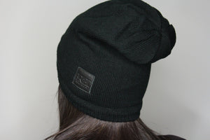 Black Beanie (Custom leather patch)