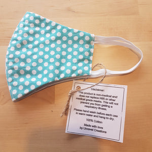 Teal Polka Dots - Cotton Face Mask