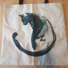 Tote Bag - Green Watercolor Cat