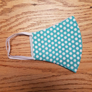 Teal Polka Dots Cotton Face Mask