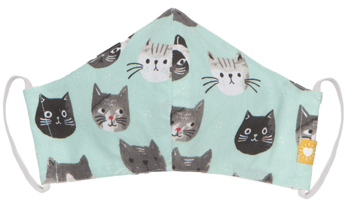 Cotton Face Mask - Teal Cats