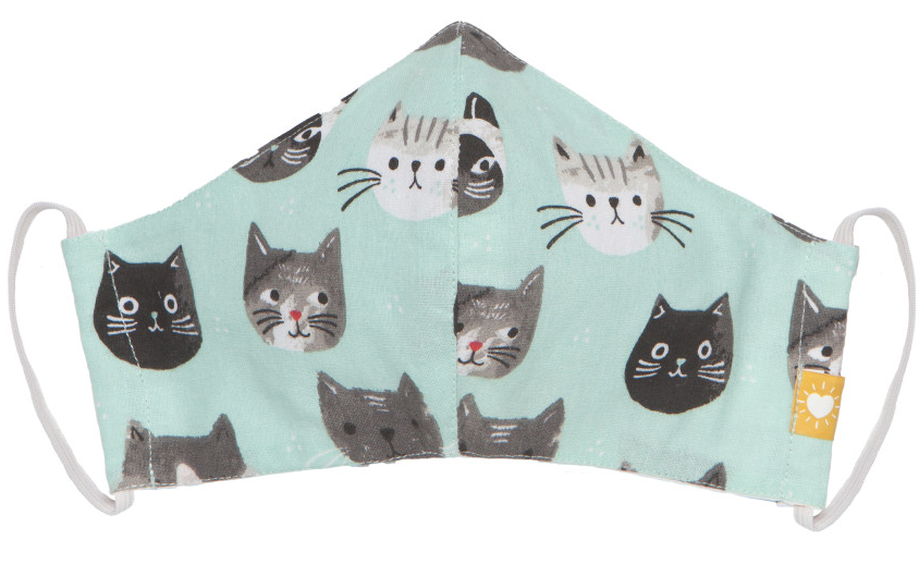 Teal Cat Heads - Cotton Face Mask