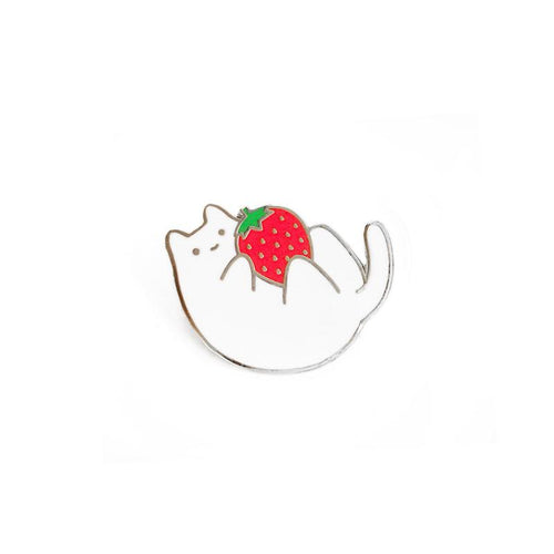 Strawberry Cat ~ Lapel Pin