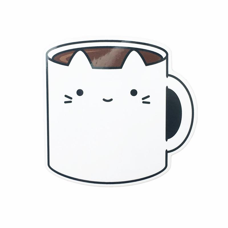 Coffee Mug Cat Sticker