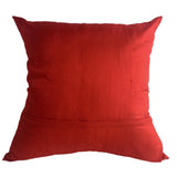 "Raw Silk Handwoven Pillow, Red - 24"" x 24"""