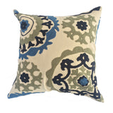 "Suzani Style Beige Embroidered Pillow - 16"" x 16"""