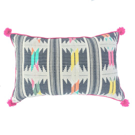 "Woven Geometric Pattern Pillow - 13"" x 21"""