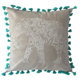"pillow beige cotton elephant print 20"" x 20"""