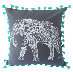 pillow grey/aqua cotton elephant print 20