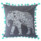 "pillow grey/aqua cotton elephant print 20"" x 20"""