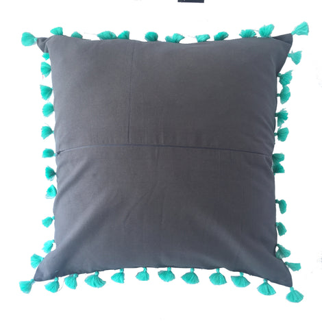 Elephant Print Pillow Grey, Aqua Tassel trim  - 20