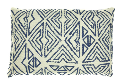 "pillow natural/blue pattern cotton 12"" x 24"""
