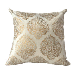 "Pillow Ivory white viscose/cotton 16"" x 16"" stupa print"