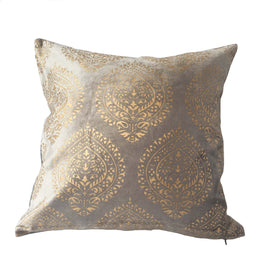 "Stupa Print Velvet Pillow, Grey -  16"" x 16"""