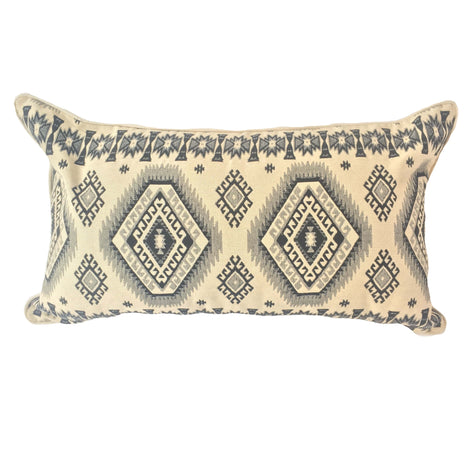 "Woven Diamond Pattern Pillow, Beige/Black  - 14"" x 24"""