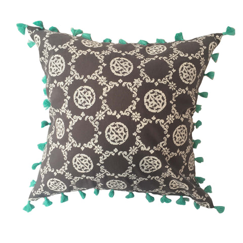 "pillow medallion pattern grey/turquoise 20"" x 20"""