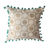 "pillow medallion pattern white gold/turquoise 20"" x 20"""