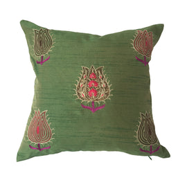 "pillow lotus pattern green 16"" x 16"""