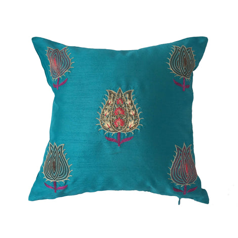 "pillow lotus pattern blue 16"" x 16"""