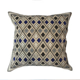 "Diamond Pattern Embroidered Pillow, Beige/Blue  - 18"" x 18"""
