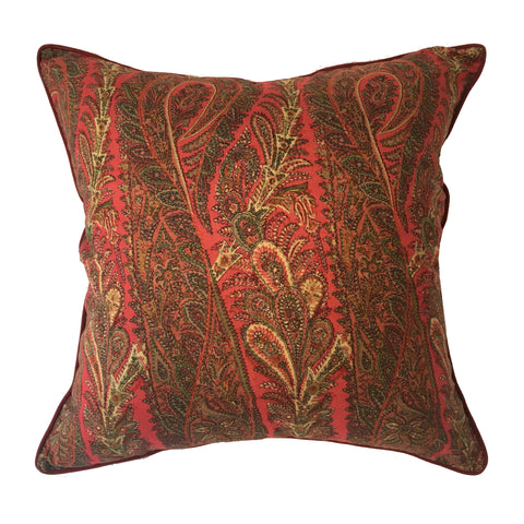 "pillow paisley pattern burgundy red 24"" x 24"""