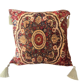 "Velvet Medallion Pattern Pillow with Tassels - 18"" x 18"""