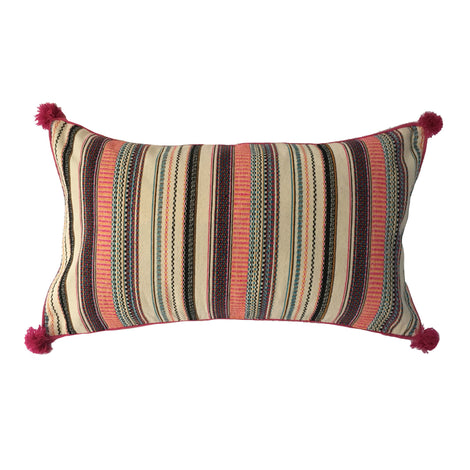 "Woven Multi-Coloured Striped Pillow - 14"" X 24"""