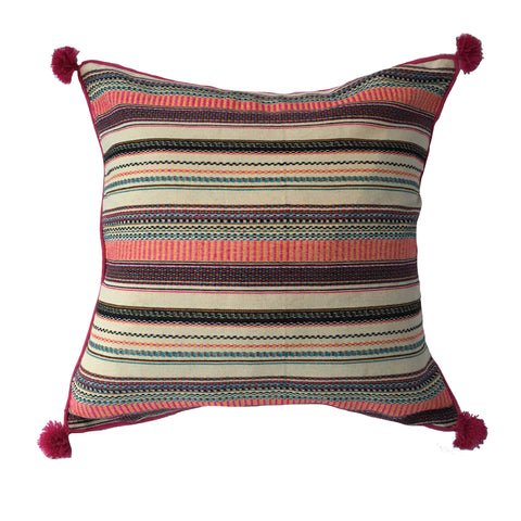"Woven Multi-Coloured Striped Pillow - 20"" x 20"""