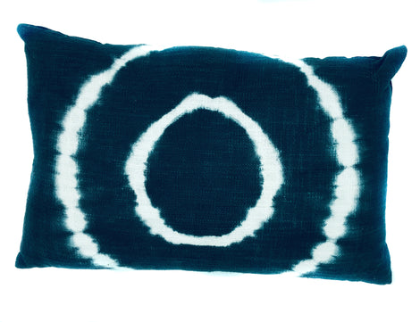"Tie-Dyed Circle Pillow, Indigo/White - 14"" x 24 """