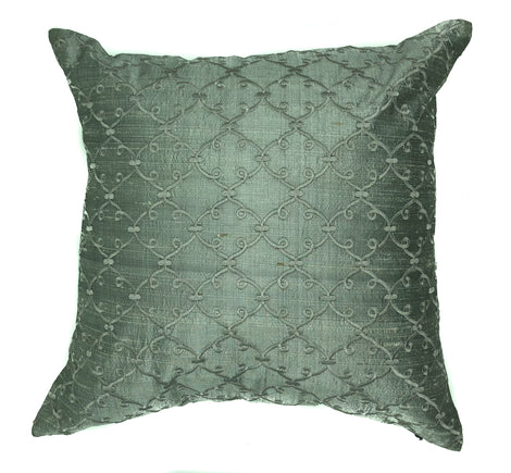 "pillow raw silk lattce pattern grey 16"" x 16"""