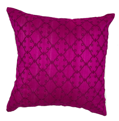 "pillow raw silk lattce pattern fuschia 16"" x 16"""